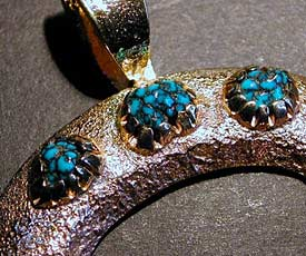 Harry H Begay Hand-Forged 'Ingot' Silver Turquoise Bracelet - 2nd view