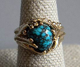 'Fossil' Lone Mountain Turquoise, 14kt Gold Ring