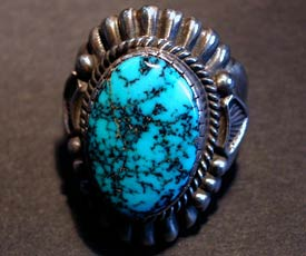 Harry H Begay Silver Ingot Lone Mt Turquoise Ring - 2nd view
