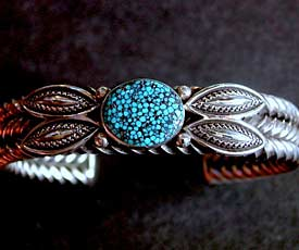 Perry Shorty Black Webbed Turquoise Mtn Bracelet -  2nd view